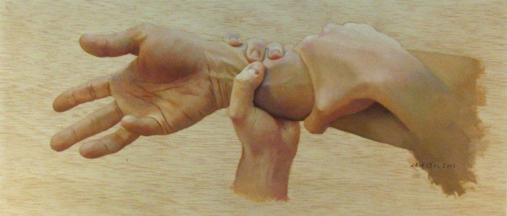 """""""Entre el vacío y tus ansias de loca"""", Oil on wood. 23,5 x 55 cm. Jair Leal, 2012."""