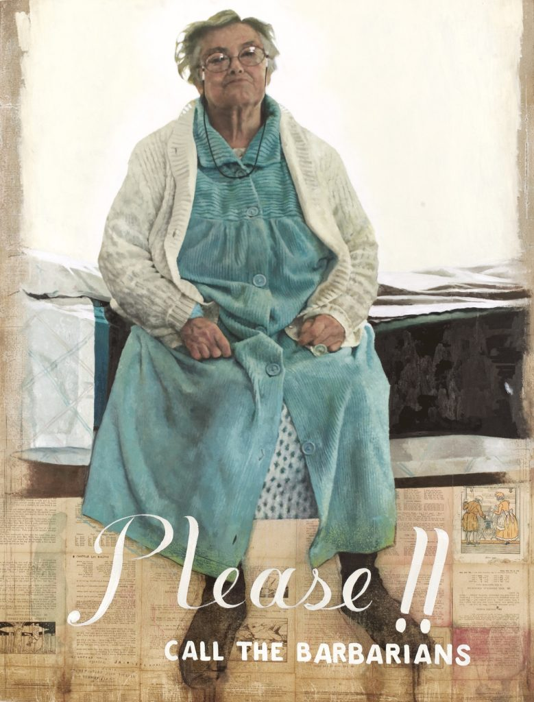 """La más grande lección de mi abuela"". Oil on paper glued on wood. 94 x 123 cm. Jair Leal 2003"