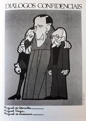 Cervantes, Unamuno y Torga. Ilustración de J. Abel Manta